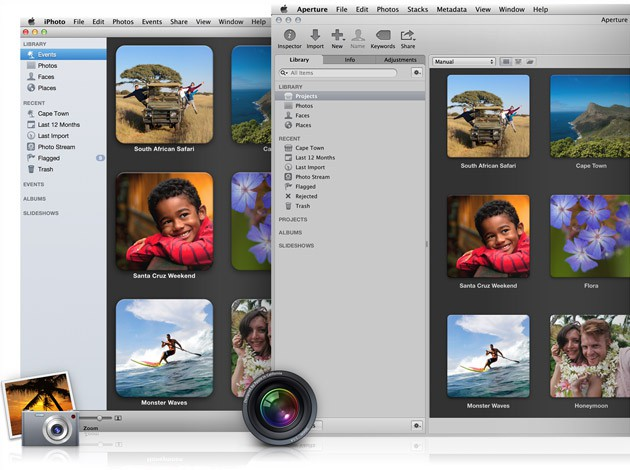 The photo libraries in Aperture and iPhoto now mirror each other.