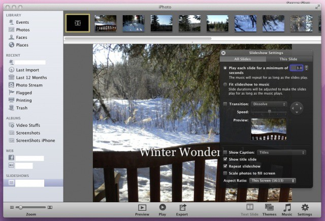 wow your family and friends create a slideshow in iphoto os x tips