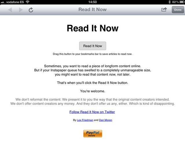Instapaper queue getting on top of you? Why not Read It Now instead?