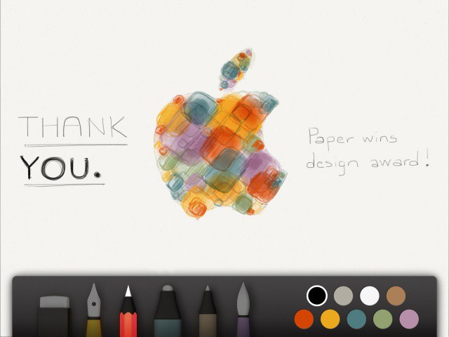 The makers of popular iPad drawing app Paper thank Apple for giving them a design award this year.