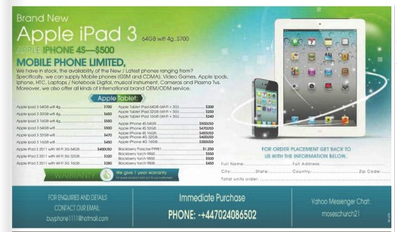 The iPad ad in The Examiner.