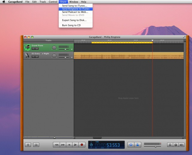 Custom Ringtone in GarageBand