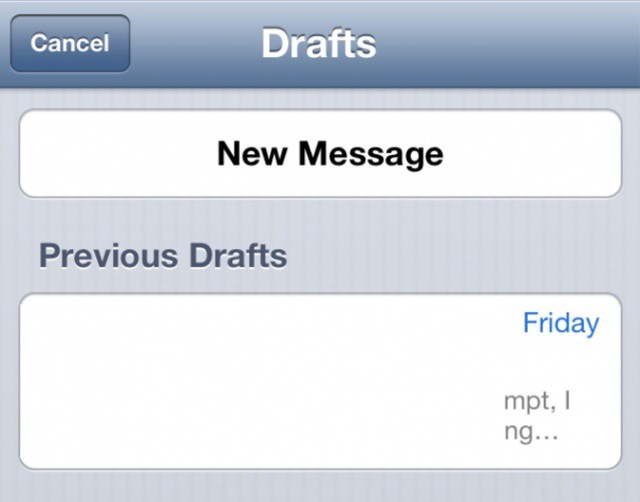 Accessing draft emails couldn't be easier in iOS 6.