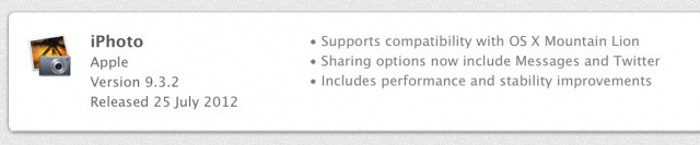iPhoto's latest update brings new sharing options for those running Mountain Lion.