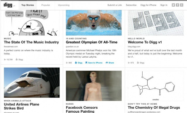 The new Digg site features more editorial content, and an updated iPhone app.
