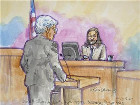 Apple attorney Harold McElhinny questions Apple designer Christopher Stringer in this court sketch during a high profile trial between Samsung and Apple in San Jose