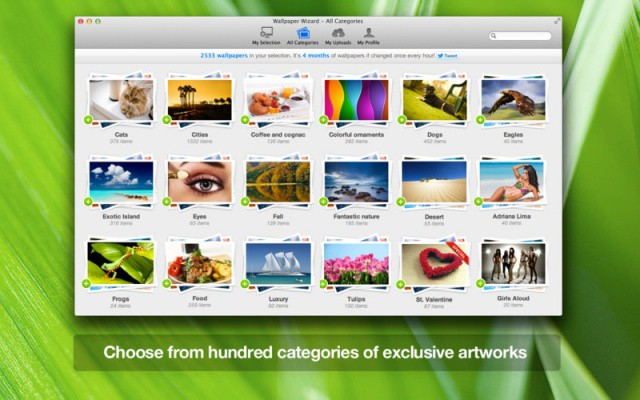Wallpaper Wizard features over 100,000 high-resolution wallpapers for your Mac.