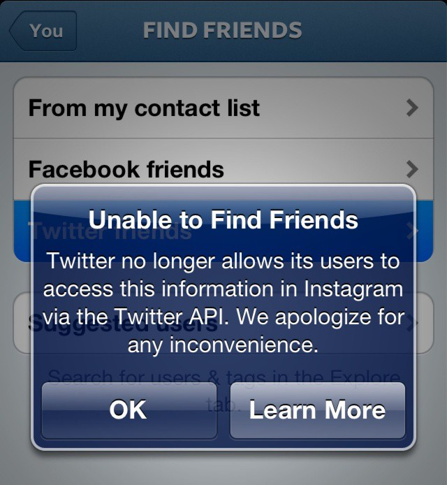 Twitter Blocks Instagram's Handy 'Find Friends' Feature