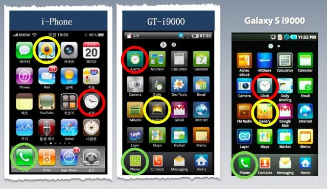 A slide from Apple's closing presentation shows the similarities between iPhone and Galaxy icons.