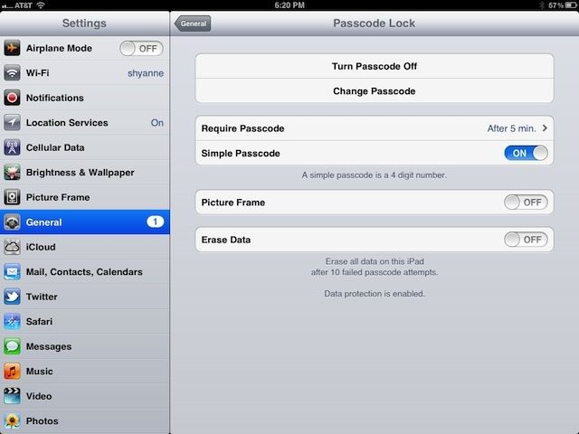 Passcode Slideshow Options