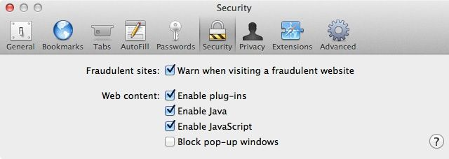 Safari Security Preferences