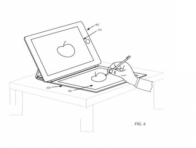 Aww, he's drawing an Apple!