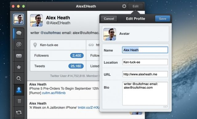 You can now edit your Twitter profile info inside Tweetbot for Mac.