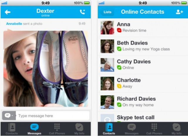 Skype for ios update brings the ability to send receive photos its about time ccuart Choice Image