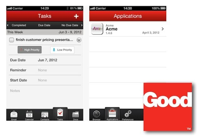The latest release of Good for Enterprise delivers more security and separation of work and personal data on an iPhone or iPad.