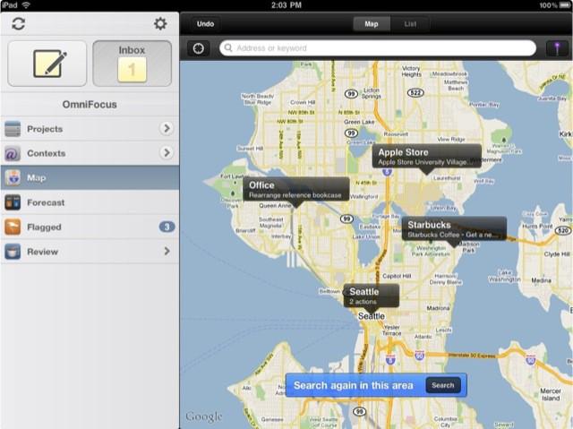 Omnifocus Ipad map