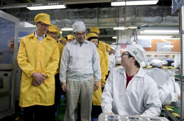 Tim Cook visits Foxconn, where Apple's iMacs are traditionally assembled, in 2011.