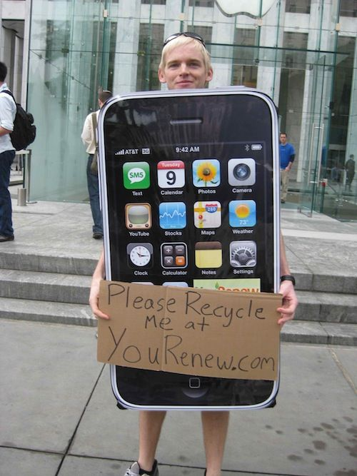 The iPhone 3GS launch day marked the time when people really started to use the lines to promote their businesses