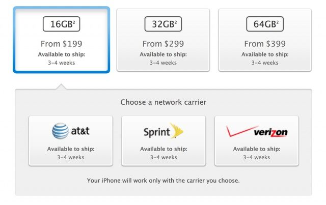 AT&T, Verizon and Sprint are now showing 3-4 weeks shipping estimates for the iPhone 5.