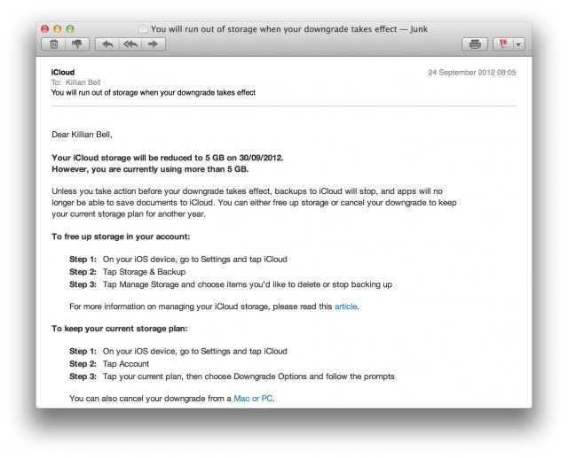 Ex-MobileMe customers must now pay to enjoy their existing 25GB iCloud plans.