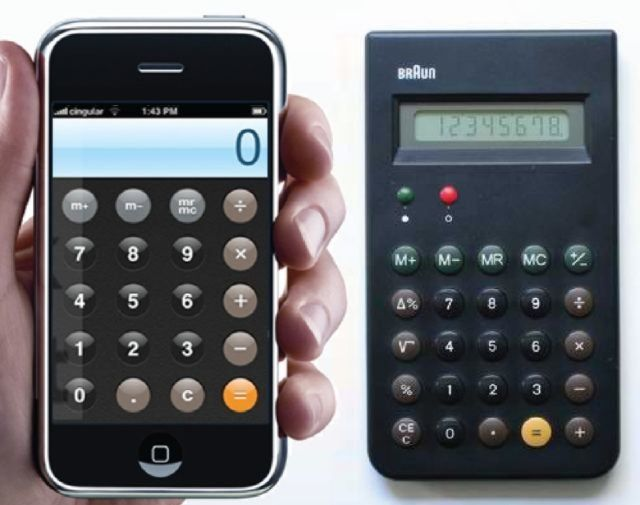 Braun ET44 calculator vs. iPhone's calculator app