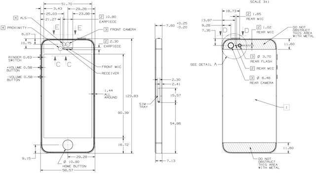 iphone 5 dimensions these are the complete blueprints for the iphone 5 image 10980