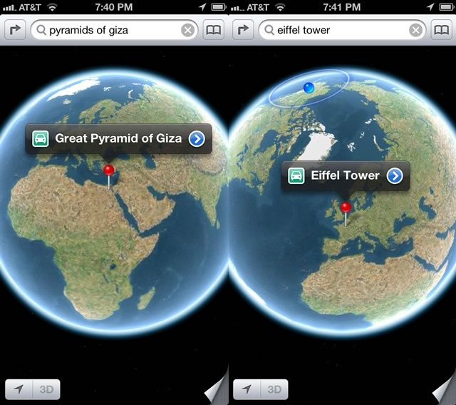 Map Of The World Globe View.See The Whole Earth In The Ios 6 Maps App Ios Tips Cult Of Mac