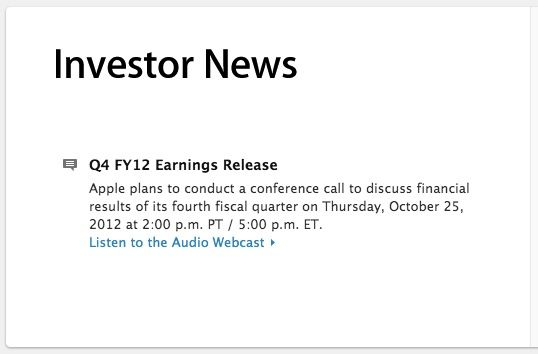 Apple Financials Webcast