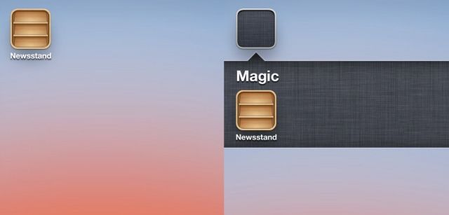 Before and after Newsstand gets hidden on the iPhone.