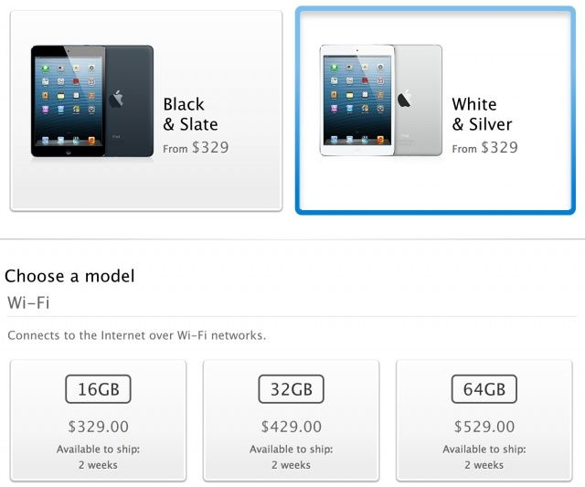 After a white iPad mini? You'll need to go into store if you want one on launch day.