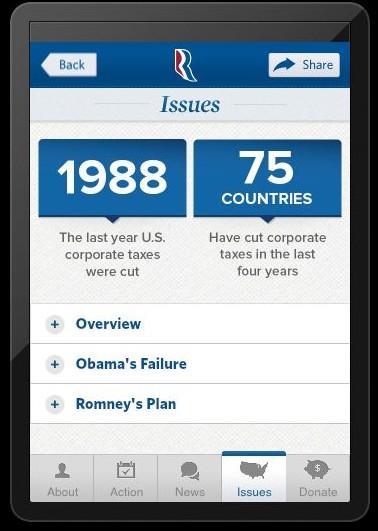 A screenshot of the official Romney-Ryan app.