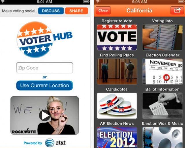 A screenshot of the Voter Hub app.