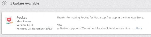 Pocket now supports multiple Twitter accounts — if you're running Mountain Lion.