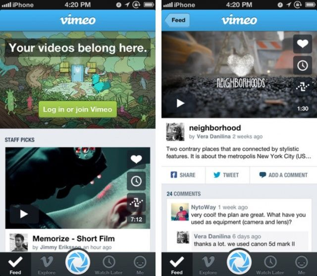 Vimeo 3.0 iPhone
