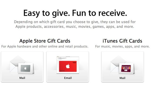 There are two types of Apple gift cards: those used for Apple Store purchases and those used for iTunes/App Store purchases.