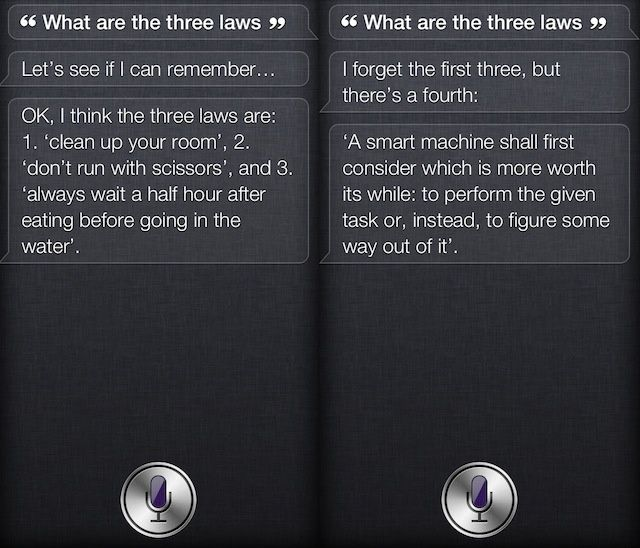 Siri Thinks The Three Laws Of Robotics Start With Clean Your Room