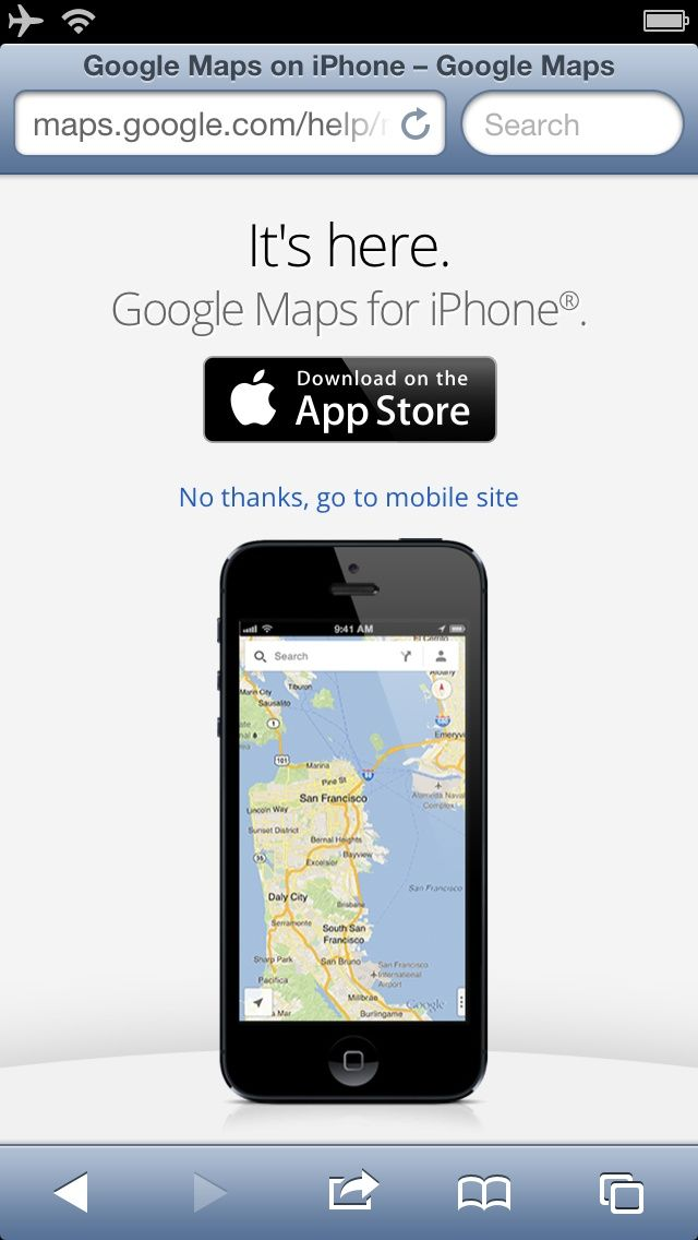 Google Maps for iPhone web search ad