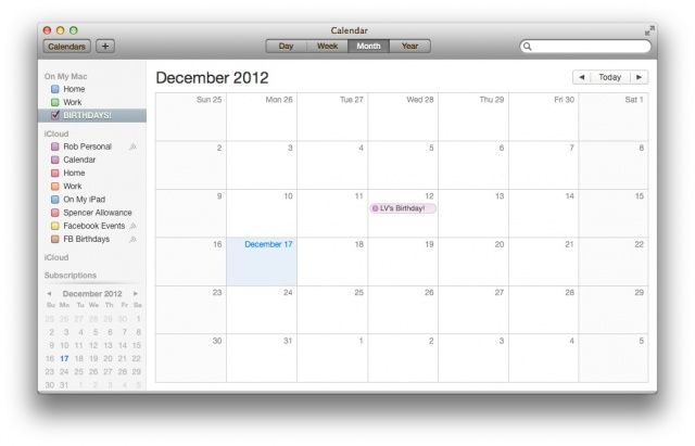 Calendar Planner Osx : Show just one calendar at a time on your mac os tips
