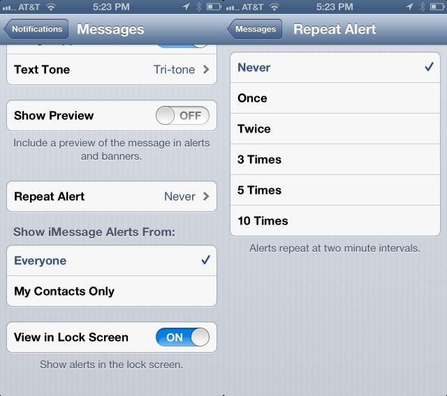 Change The Number Of Repeated Message Alerts On Your iPhone [iOS
