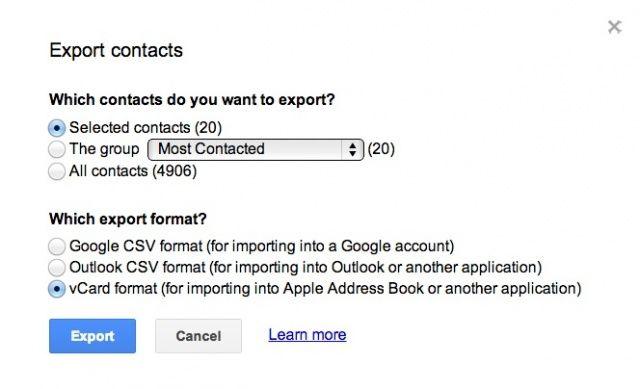 It's simple to export Google contacts to iCloud.