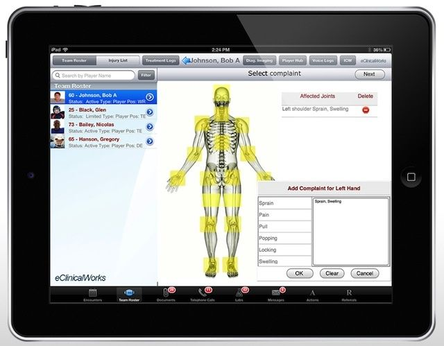 The iPad version of the eClinicalWorks EMR that all NFL teams will use for the next 10 years.