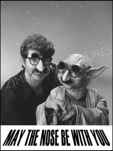 George Lucas & Yoda as Groucho. Photo by Tom Zimberoff.