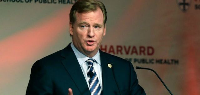 NFL commissioner Roger Goodell speaking about player safety at the Harvard School of Public Health.