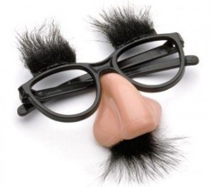 A standard pair of Groucho glasses.