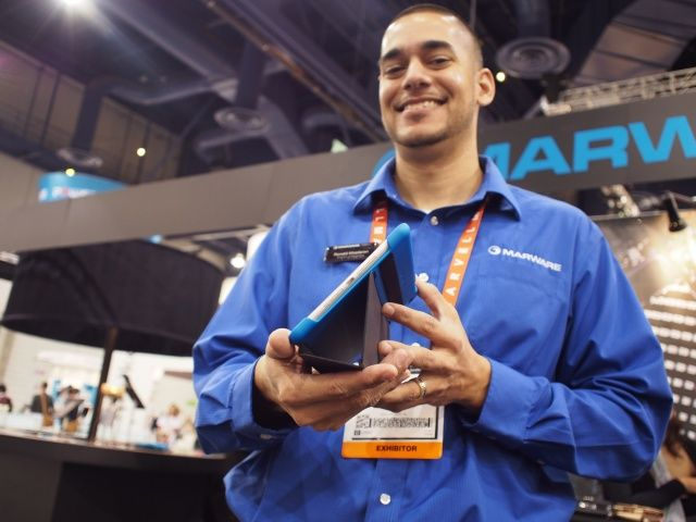Marware's director of marketing, Ronnie Khadaran shows off the MicroShell Folio for iPad mini.