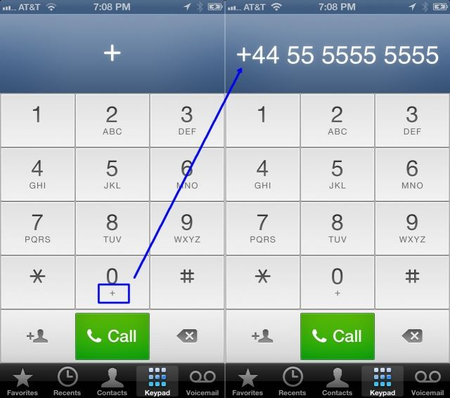 Use The Plus Key On Your Iphone To Dial International Numbers Ios