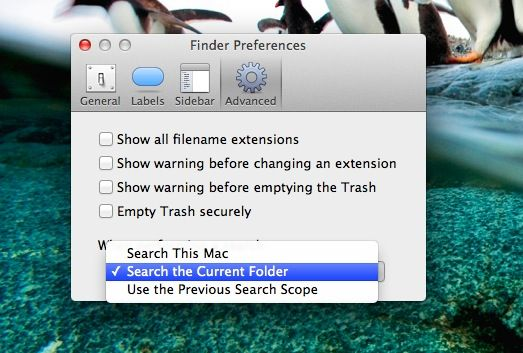 Finder Search Options