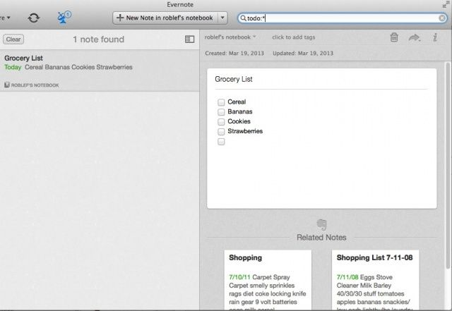 ToDo Search Evernote