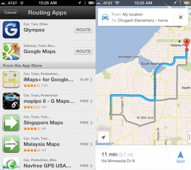 Hello google route around apple maps using transit option on your hello google route around apple maps using transit option on your iphone ios tips stopboris Choice Image