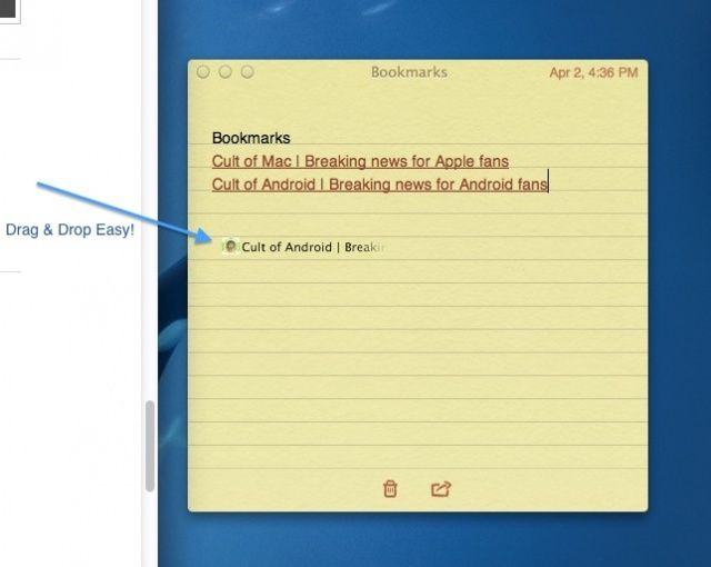 Bookmarks in Notes